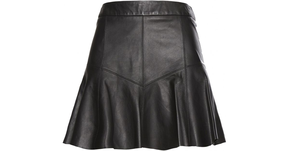 scoop leather flared mini skirt in black lyst