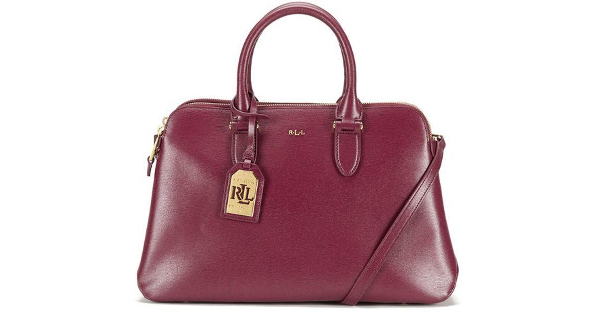 Lauren by Ralph Lauren Women s Newbury Double Zip Dome Tote Bag in Purple -  Lyst 8058ebc43d570