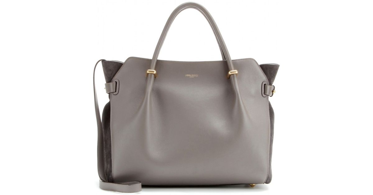 2fd6a8f468 Nina Ricci Marché Small Leather Tote in Gray - Lyst