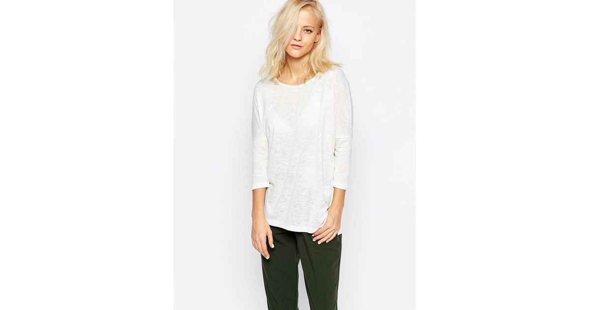 Selected Sahin 3/4 Sleeve Tunic Top In White in White