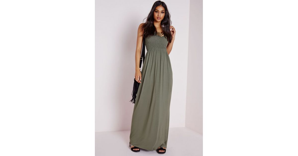 0262109a367 Missguided Shirred Jersey Maxi Dress Khaki in Natural - Lyst