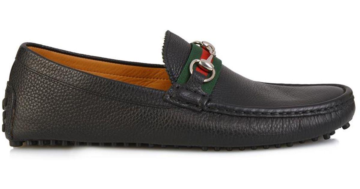 e1da529ae Gucci Damo Leather Driving Shoes in Black for Men - Lyst