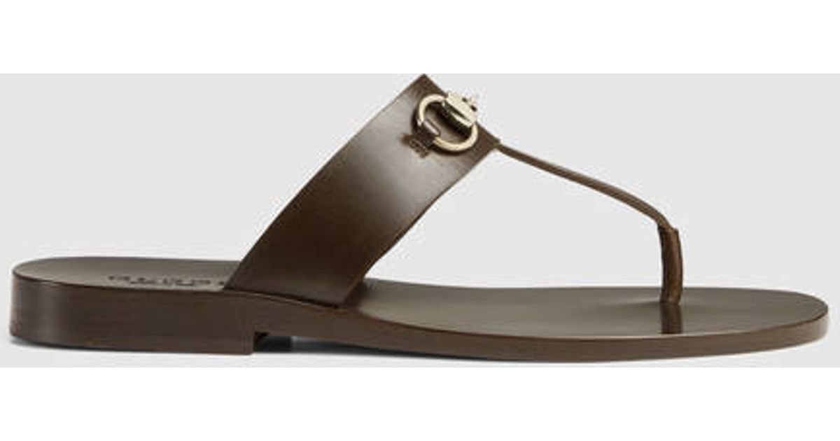 2c6175342cb937 Lyst - Gucci Leather Horsebit Thong Sandal in Brown for Men