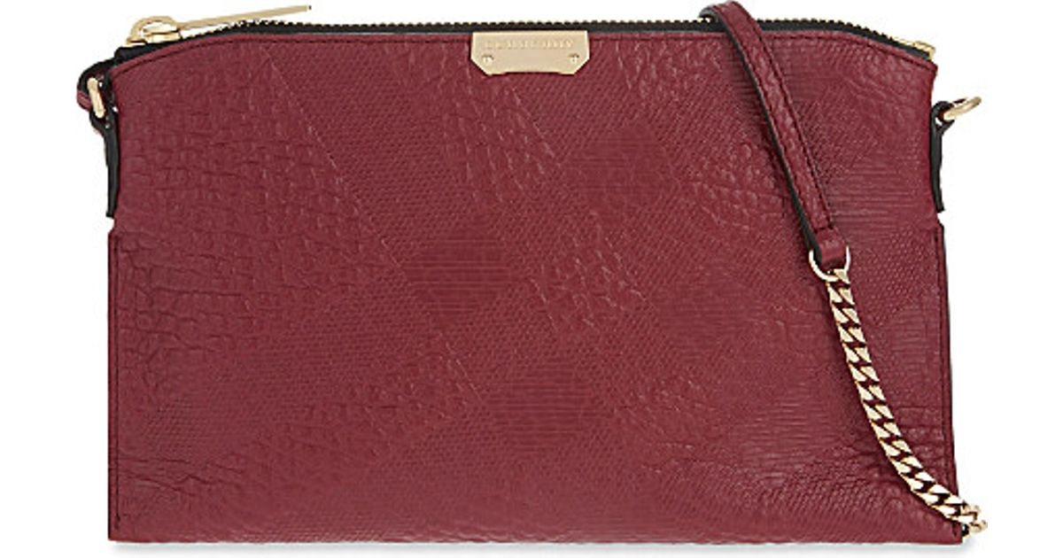645efb9c8d Lyst - Burberry Peyton Check Leather Cross-body Bag in Red