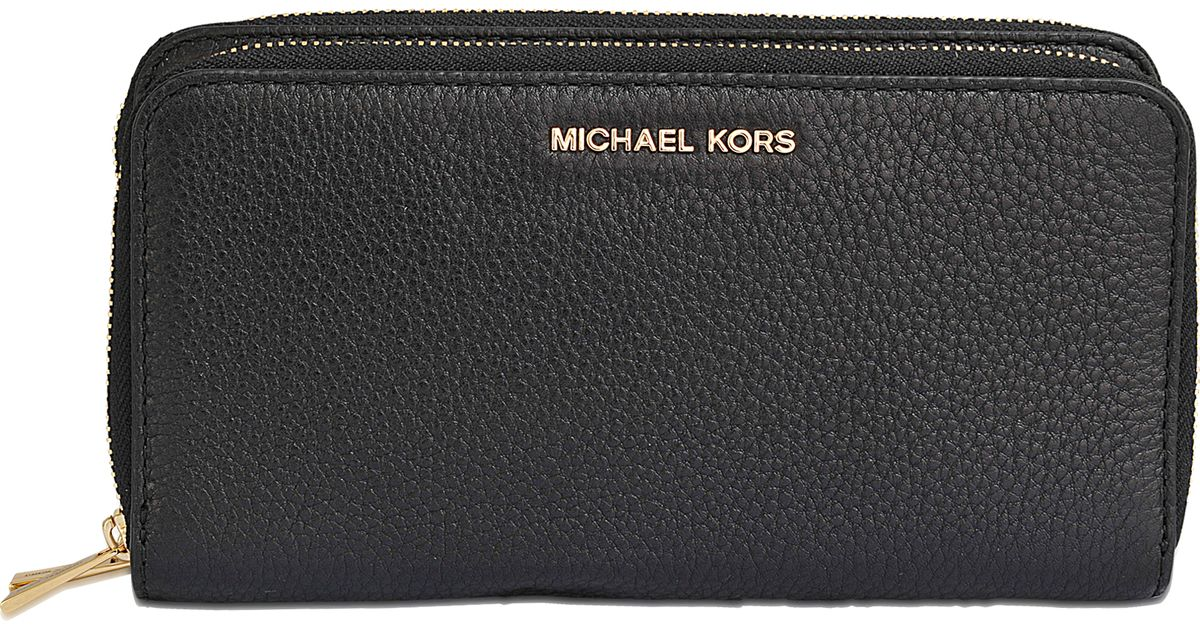 55cbcdc37fc8 MICHAEL Michael Kors Adele Double Zip Wallet in Black - Lyst