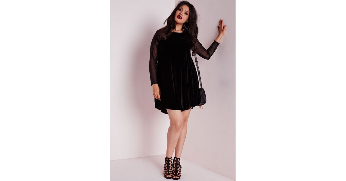 bb829f3968 Lyst - Missguided Plus Size Velvet Raglan Sleeve Swing Dress in Black