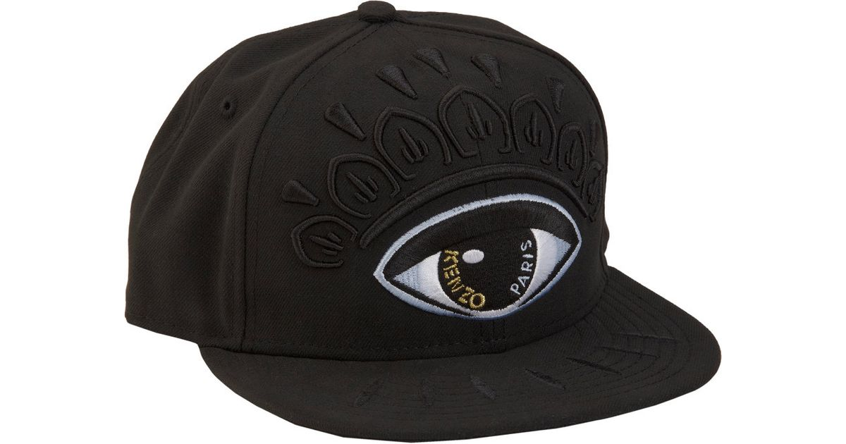 KENZO Lotus Eye Fitted Cap in Black for Men - Lyst 429e4a593df