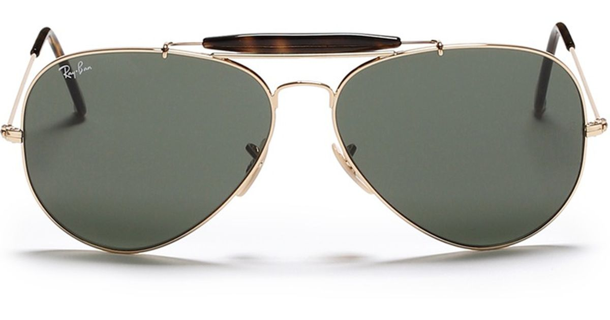 140dc4a13 Ray-Ban 'outdoorsman Ii' Tortoiseshell Brow Bar Aviator Sunglasses in Green  for Men - Lyst