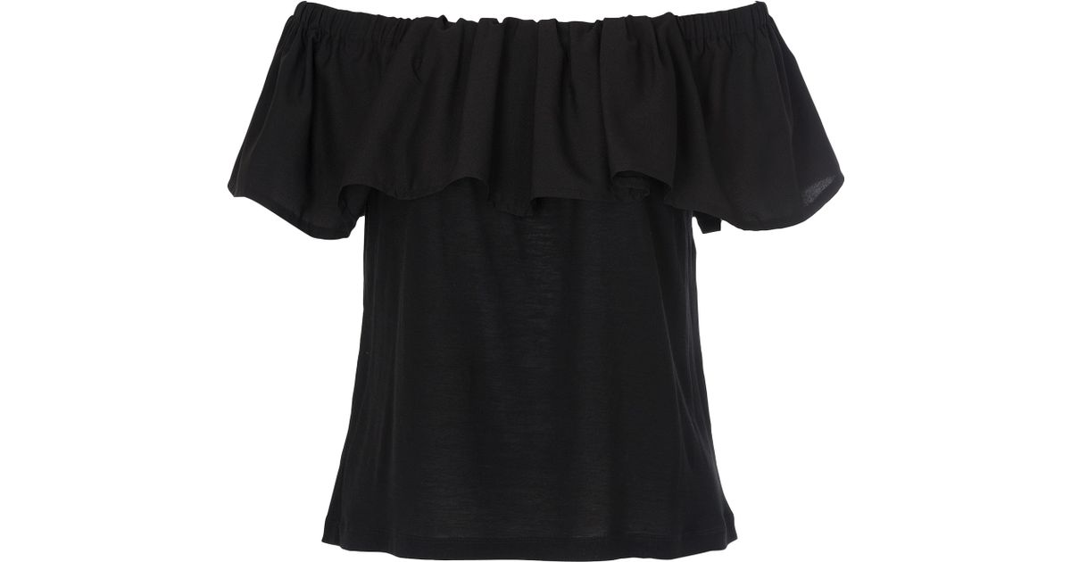 f20b018d7efcb8 French Connection Polly Plains Off Shoulder Top in Black - Lyst