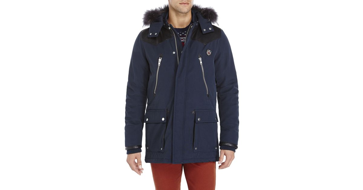 The kooples sport Navy Real Fur Trim Hooded Parka in Blue for Men ...