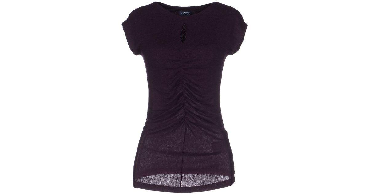 emporio armani t shirt in purple lyst. Black Bedroom Furniture Sets. Home Design Ideas