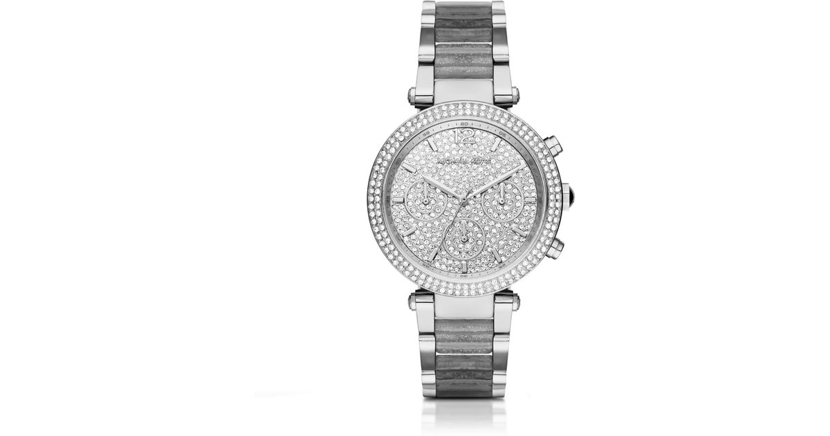 000a544d0cf8 Lyst - Michael Kors Parker Pave Silver-tone And Glitter Acetate Watch in  Metallic