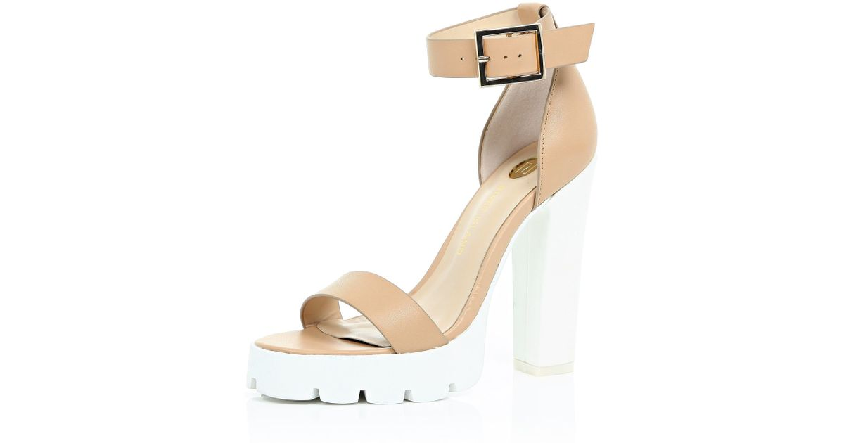 906216deaad River Island Nude Cleated Sole Sandals in Natural - Lyst