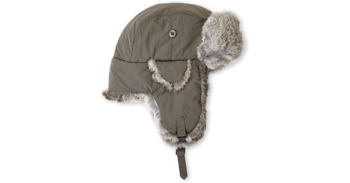 61b1ed3bc2f29 Crown Cap Real Rabbit Fur Lined Bomber Hat in Gray for Men - Lyst