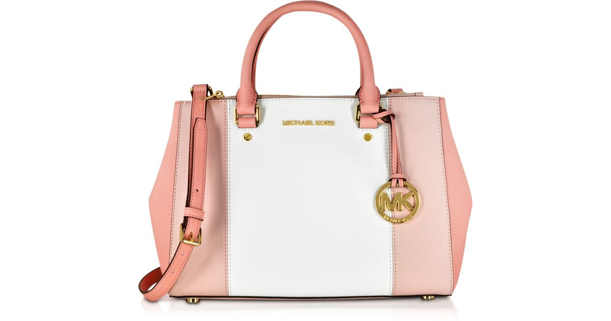 fba91675804e Michael Kors Sutton Tricolor Medium Saffiano Leather Satchel Bag in  Metallic - Lyst