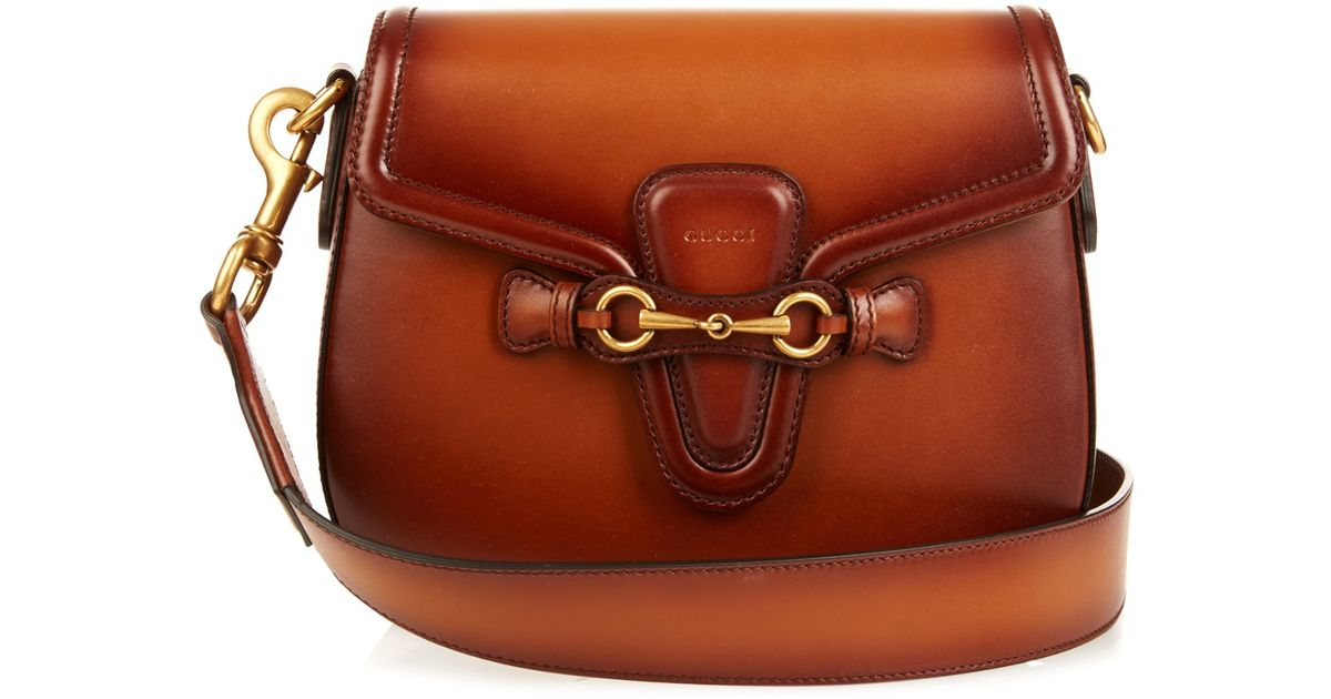 1b1e1a5e19ba Lyst - Gucci Lady Web Medium Leather Shoulder Bag in Brown