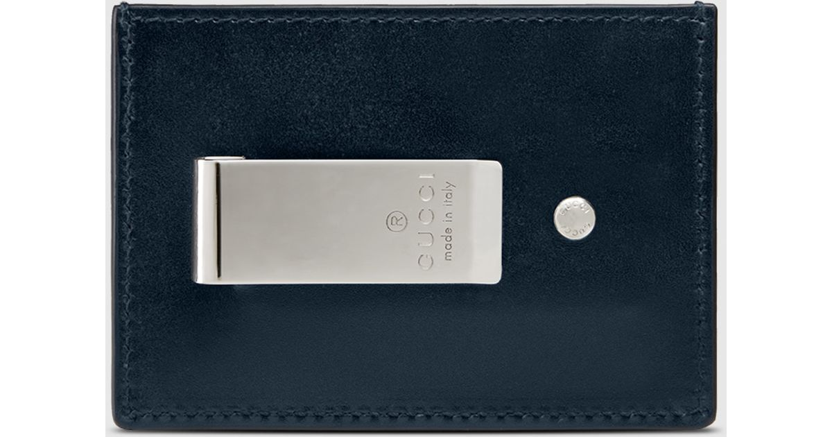 lyst gucci leather gg money clip in blue for men - Money Clip Card Holder