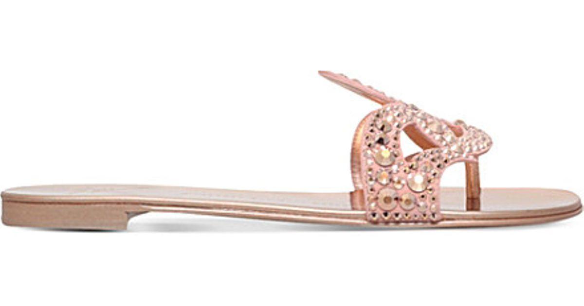 f6aa9f3b3e68 Lyst - Giuseppe Zanotti Jewel-embellished Flat Sandals in Pink