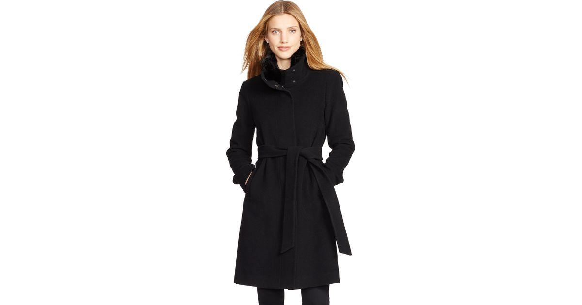 81115ccfa822 Lyst - Ralph Lauren Wool-cashmere Mockneck Coat in Black