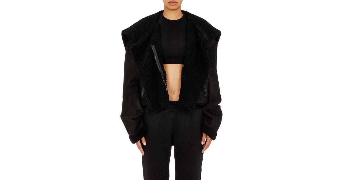 Yeezy Crop Shearling Coat in Black   Lyst