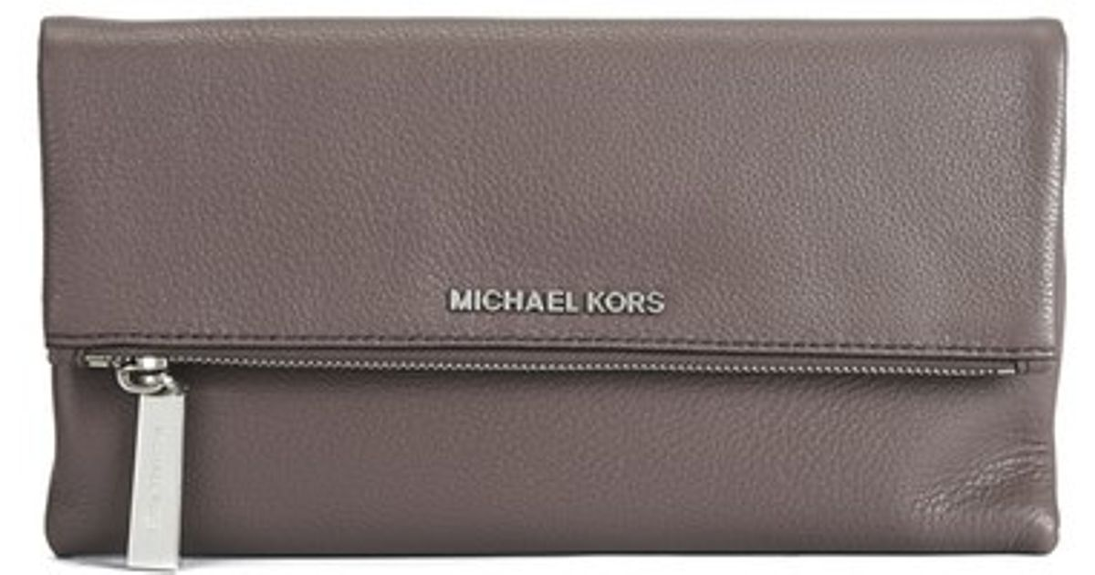 146d5b1912e4 france michael michael kors womens jane foldover clutch bag in brown lyst  d9ff5 a3435