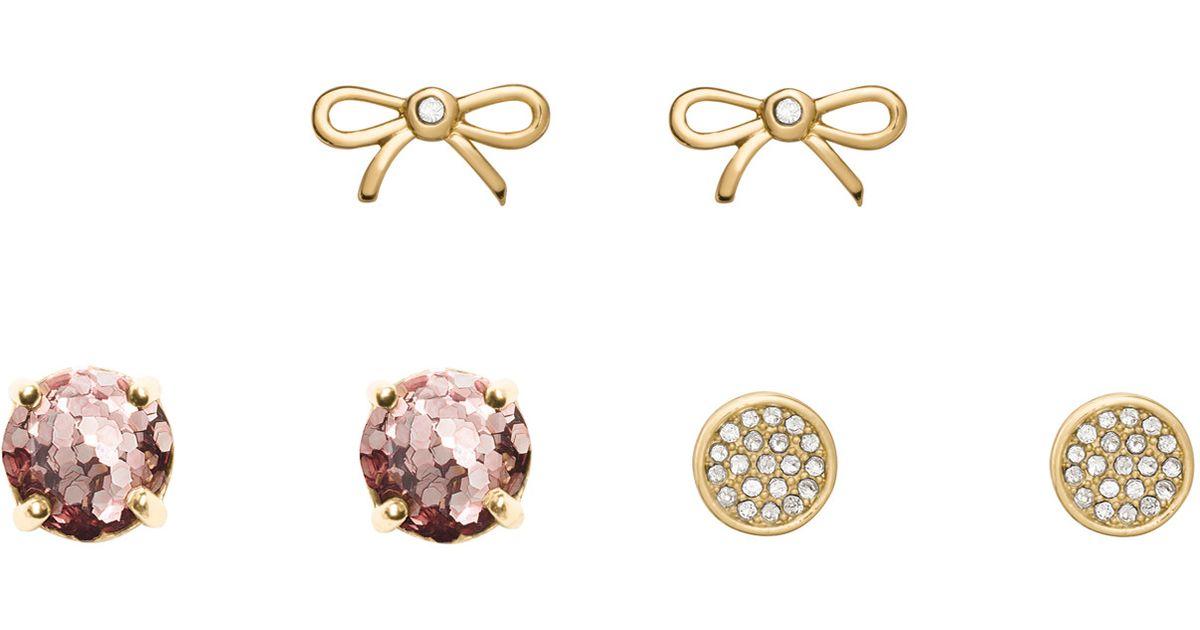 ba8c997c2e0cb kate spade new york - Pink Rose Gold Glitter 3 Piece Stud Set - Lyst