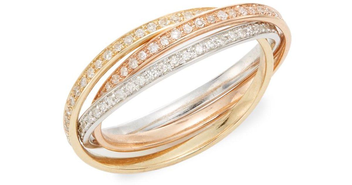 Effy Diamond K White Yellow Gold Ring