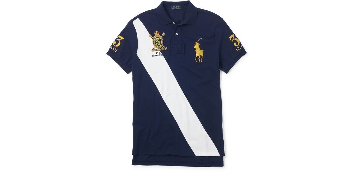 d2c3dfe849d7b Lyst - Polo Ralph Lauren Classic-fit Banner Polo in Blue for Men