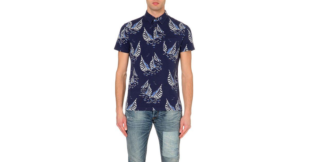 Ralph lauren Sailboat Race Cotton-Pique Polo Shirt - For Men in Blue for Men