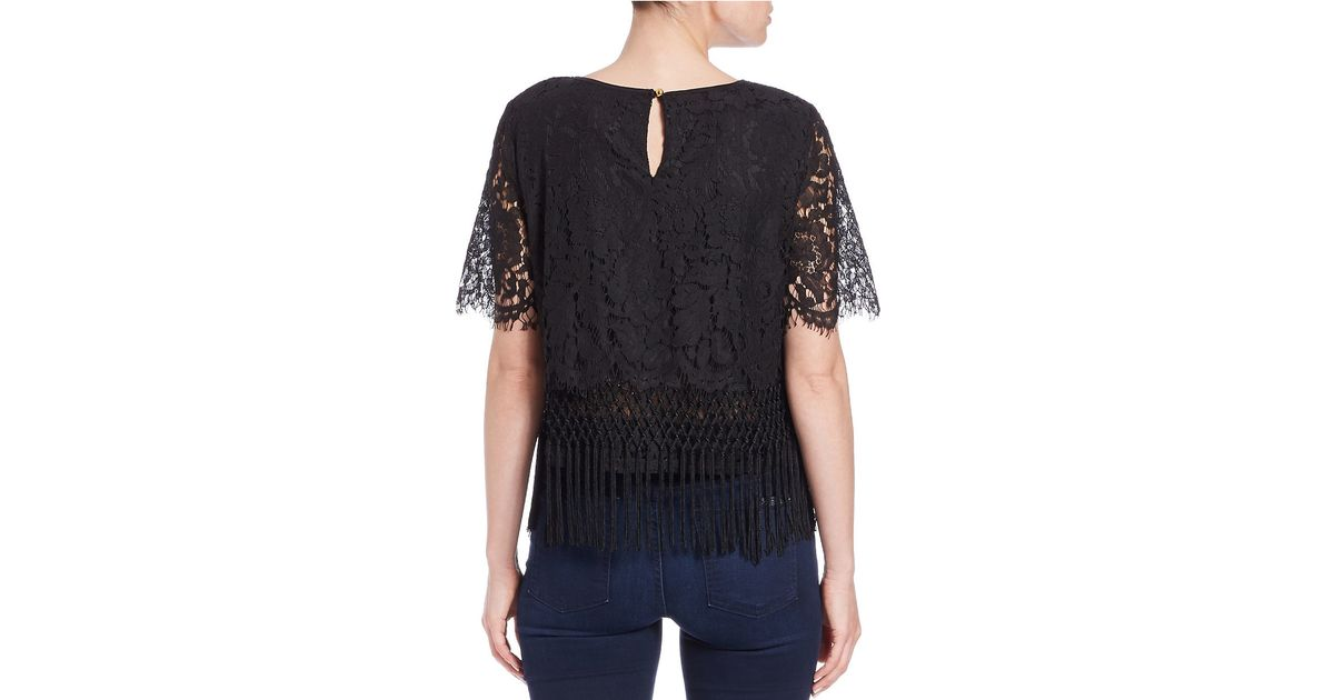 Lord Taylor Lace Fringe Crop Top In Black Lyst