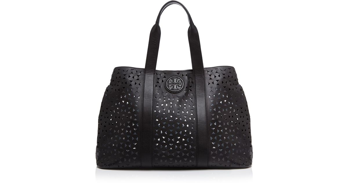 fe4ce3731800 Lyst - Tory Burch Ella Large Perforated Tote in Black