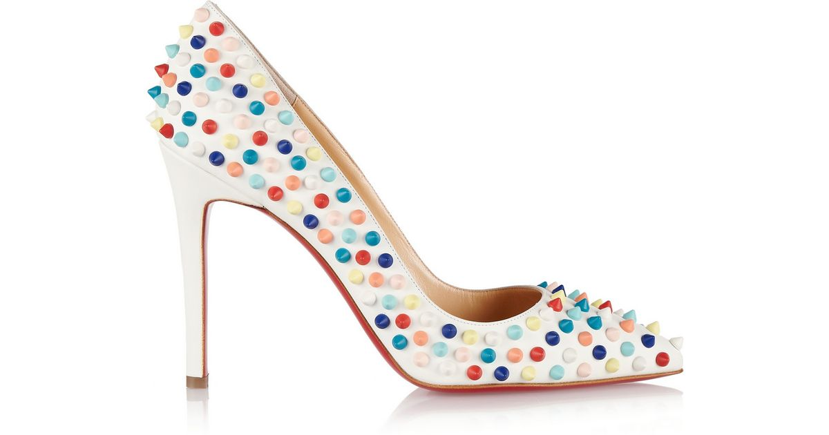 e6c27c1e4539 Lyst - Christian Louboutin Pigalle Spikes 100 Leather Pumps in White