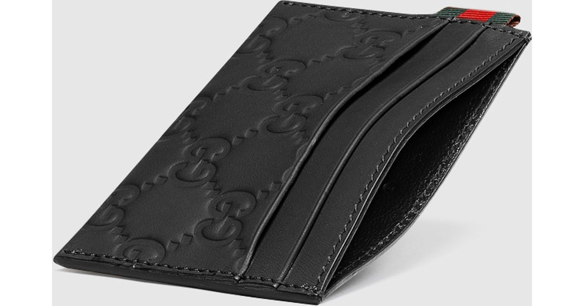 Lyst - Gucci Rubber Ssima Leather Card Case in Black for Men