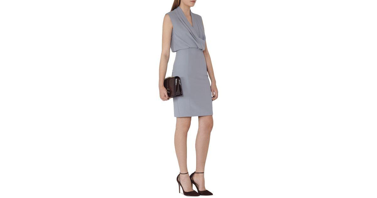 Lyst - Reiss Portland Shawl Neck Dress in Blue