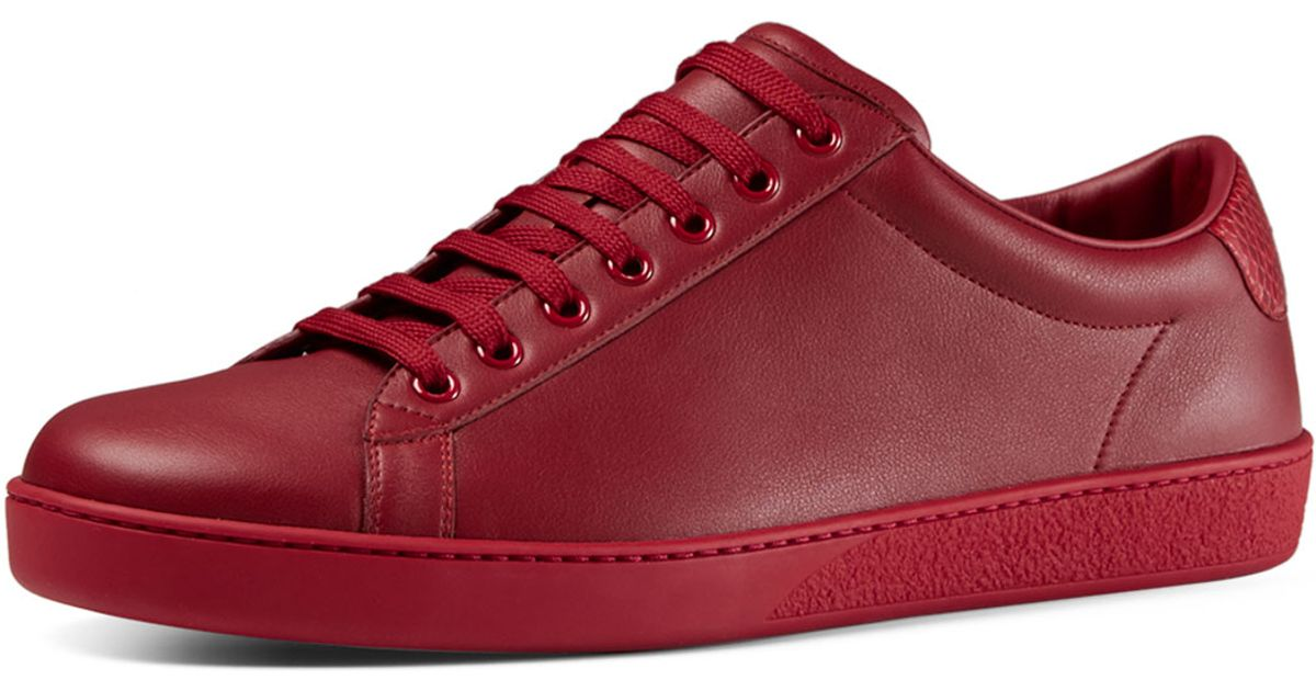 Gucci Red sneakers Gucci Leather Low-top Sneaker in Red - Lyst