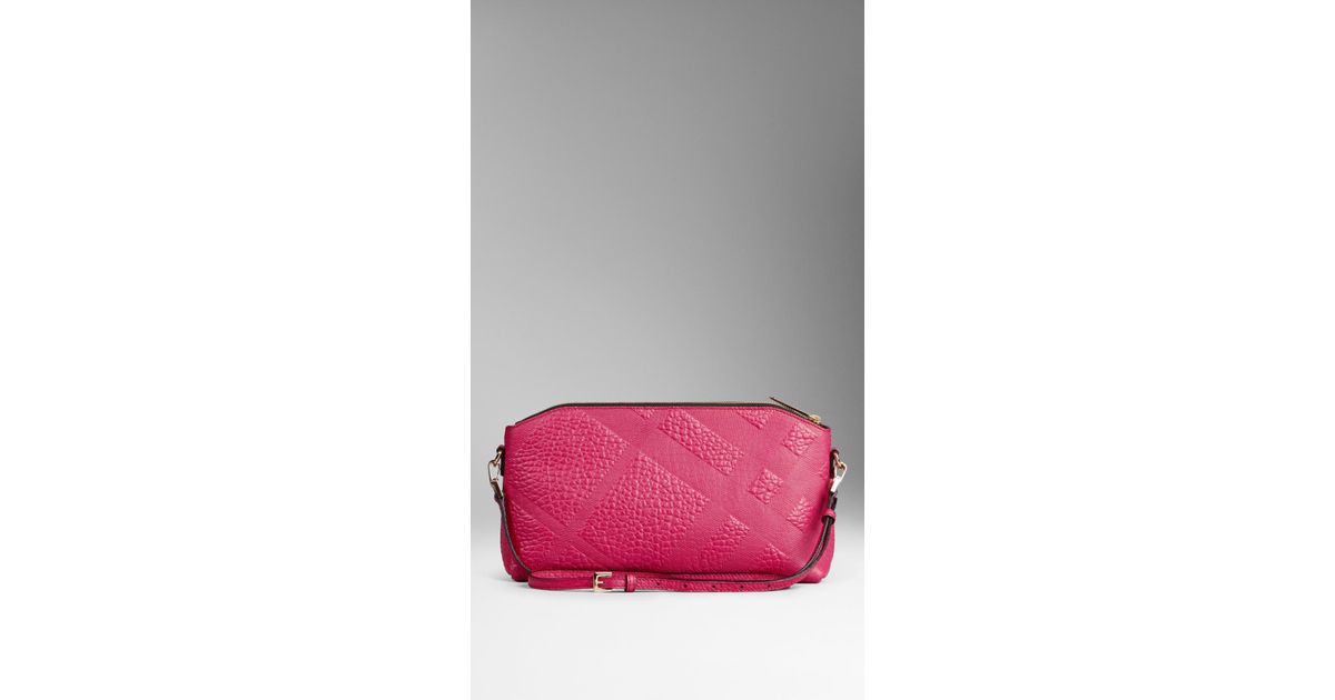 0756d1487c36 Burberry Small Embossed Check Leather Clutch Bag in Pink - Lyst