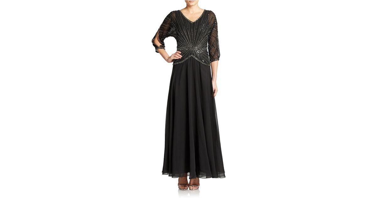 b9e130c68aee J Kara Hand Beaded Sequined Gown in Black - Lyst