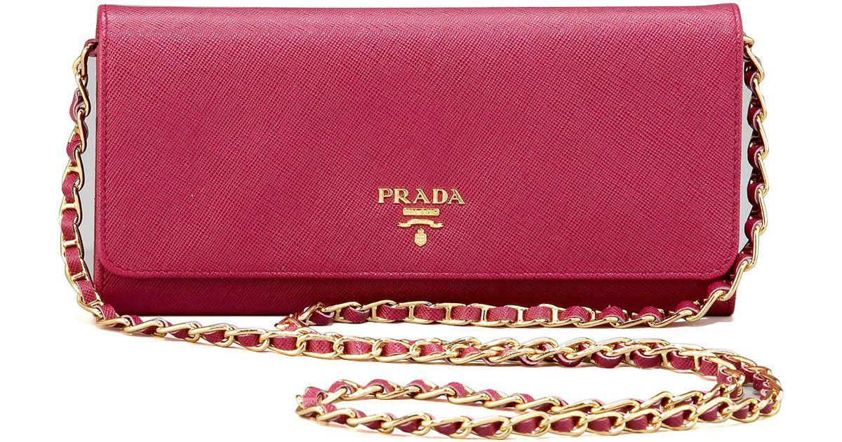 b589896f04ff Prada Saffiano Chain Crossbody Wallet in Black - Lyst