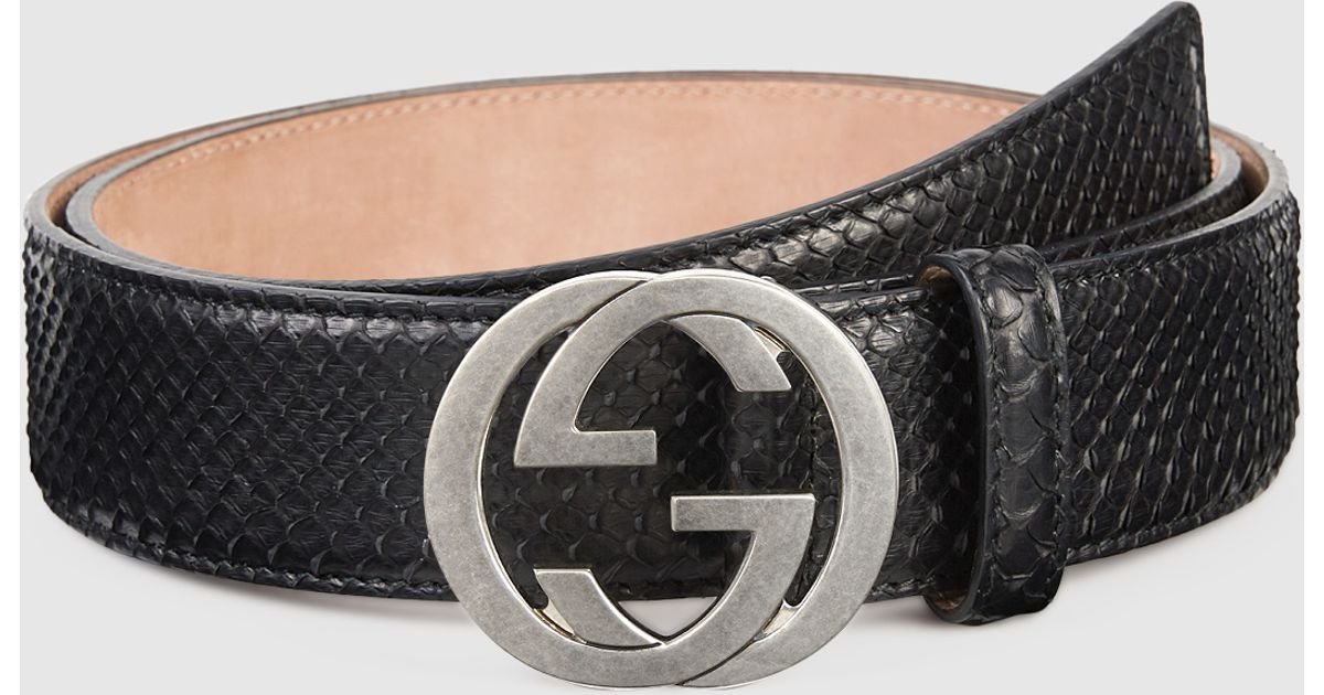 83166482975 Lyst - Gucci Python Belt With Interlocking G Buckle in Black for Men