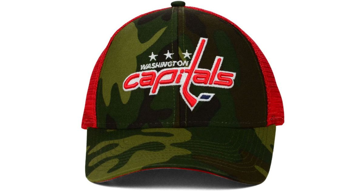 4cafe6e3c0904 Lyst - Reebok Washington Capitals Camo Trucker Cap in Green for Men