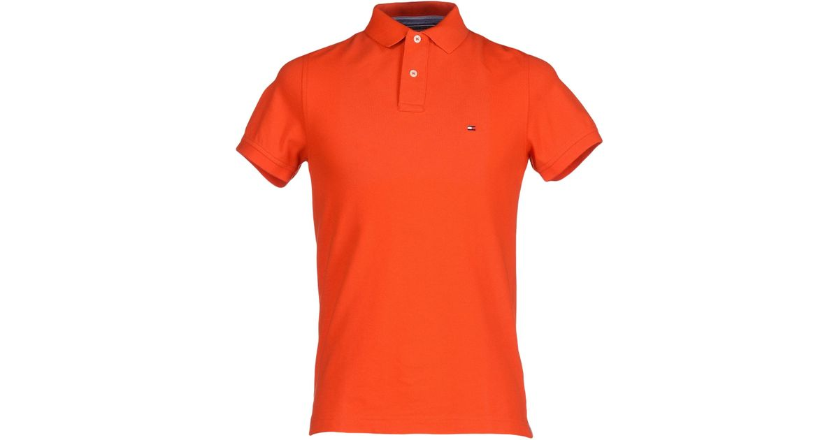 tommy hilfiger polo shirt in orange for men lyst. Black Bedroom Furniture Sets. Home Design Ideas