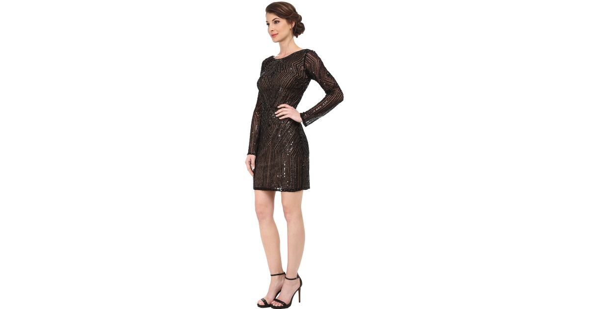 d077d75bae Adrianna Papell Diamond Pattern Long Sleeve Beaded Cocktail Dress in Black  - Lyst