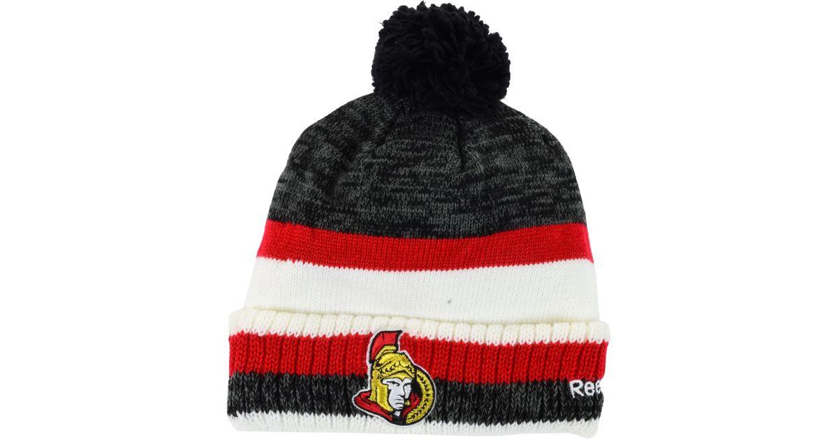 3dff749a80f ... clearance lyst reebok ottawa senators pom knit hat in red for men bfd5a  825c2 switzerland lyst 47 brand womens ottawa senators fiona ...