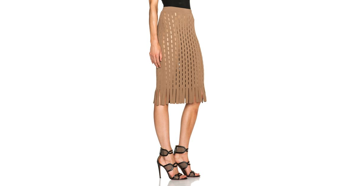 a628e59e215 Lyst - Alexander Wang Fitted Pencil Skirt With Intarsia Split Stripe in  Brown