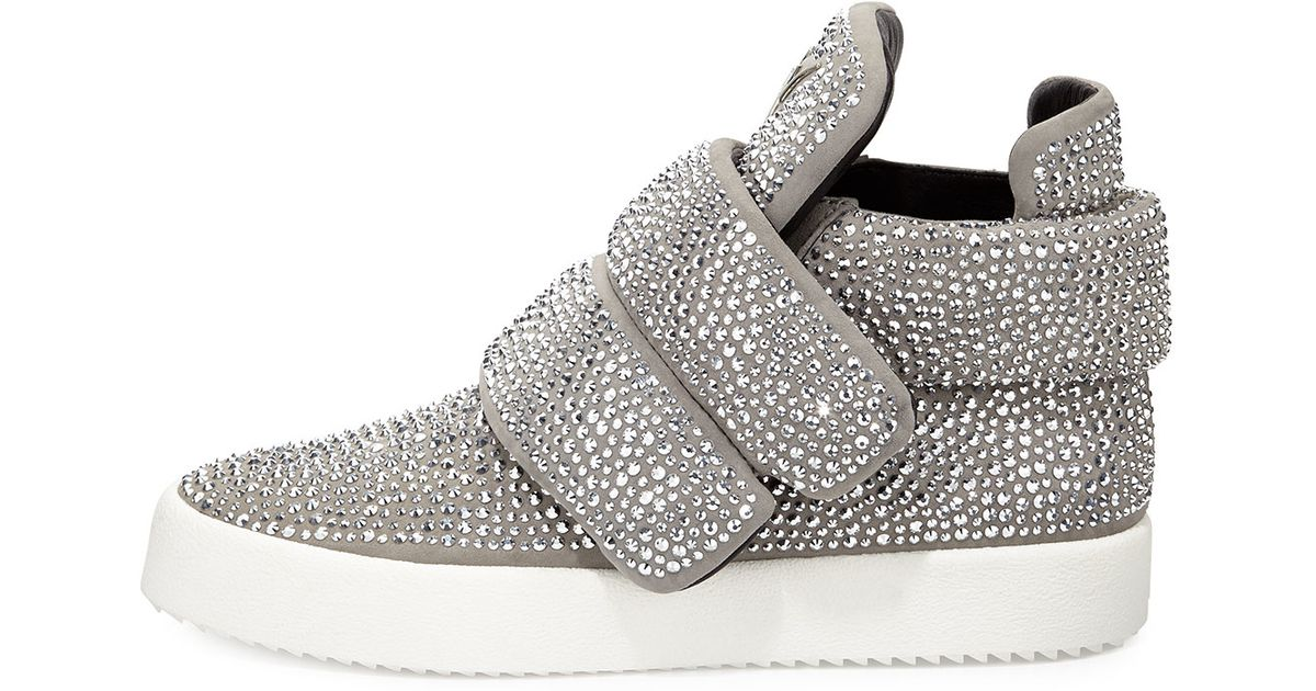 82592643617 Giuseppe Zanotti Men s Crystal-studded High-top Sneaker in Metallic - Lyst