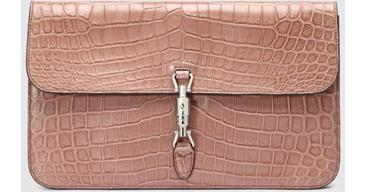 cc4e7eba7d8 Gucci Jackie Soft Crocodile Clutch in Pink - Lyst