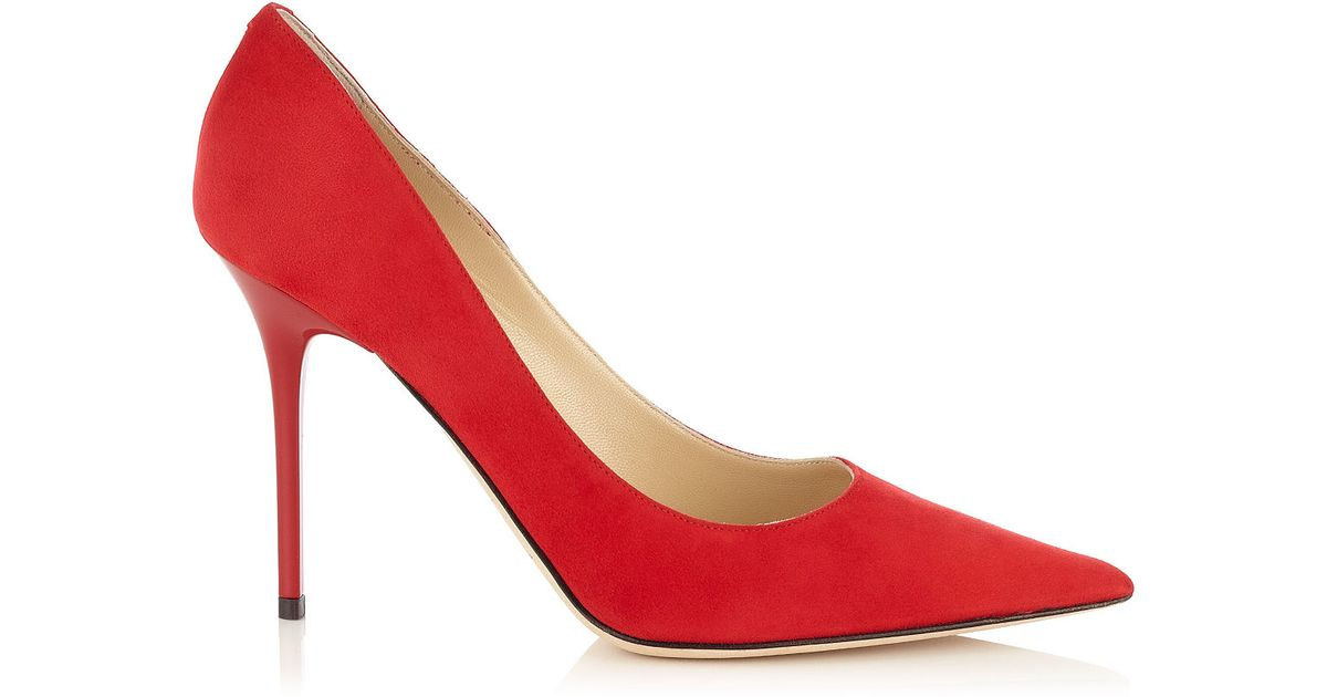 afc5fd58397 Lyst - Jimmy Choo Abel Red Suede Pointy Toe Pumps in Red