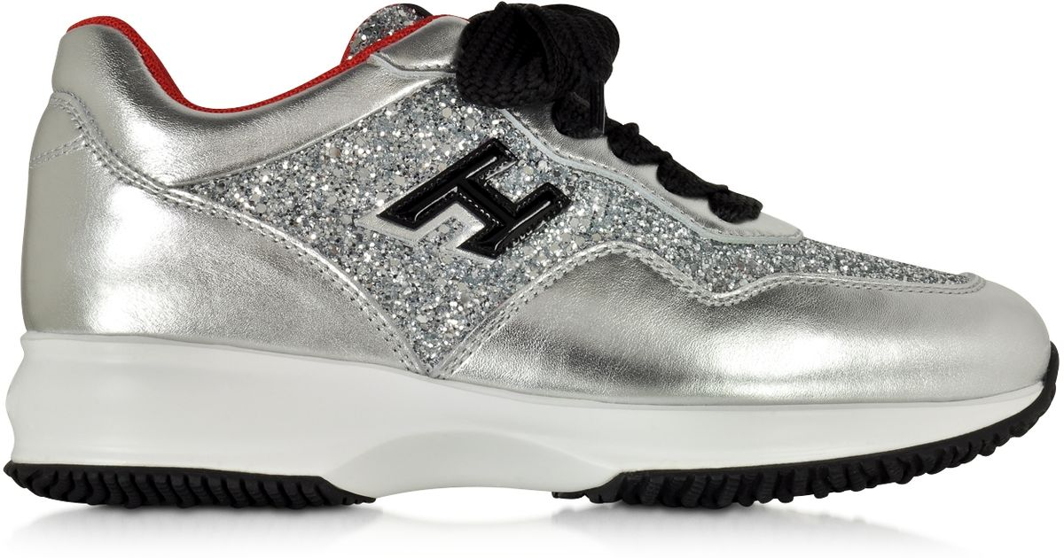 hogan club silver leather and glitter wedge sneakers in silver lyst. Black Bedroom Furniture Sets. Home Design Ideas