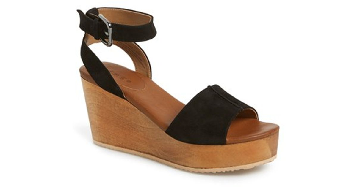 Lyst - Hinge 'Aimee' Wooden Platform Wedge Sandal in Black