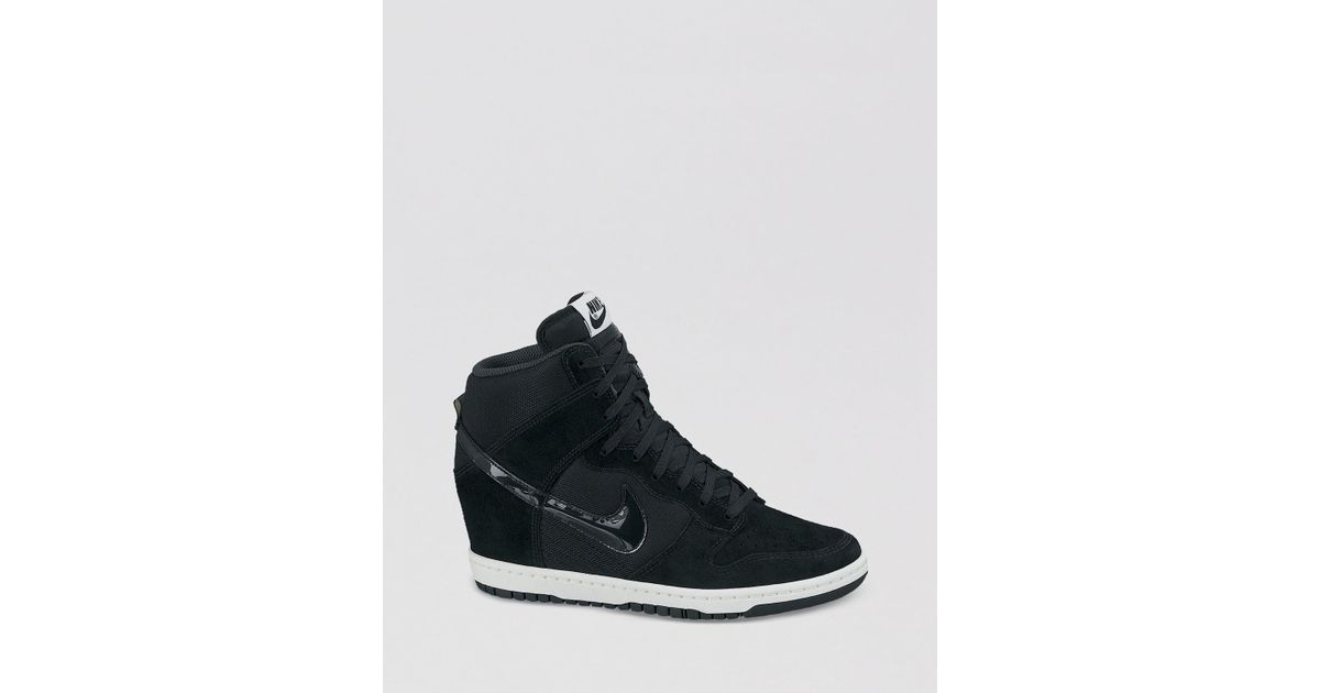 8dd1528f68cc1d Lyst - Nike Lace Up High Top Wedge Sneakers Womens Dunk Sky Hi Essential in  Black
